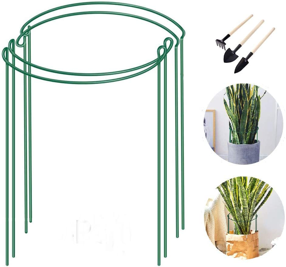 "MiaCara 4 Pack Plant Support Stakes - Plant Stick for Indoor Potted Plant Plant Cage for Monstera Vine Snake Plant, Rose (9.8"" Wide x 15.7"" High)"