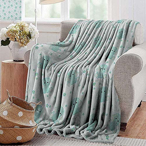 XavieraDoherty Outdoor Blanket,Elephant Nursery,Young Aged Elephants in Spring Meadow Daisies Child Baby Theme, Pale Blue Baby Blue,Super Soft Faux Fur Plush Decorative Blanket 60