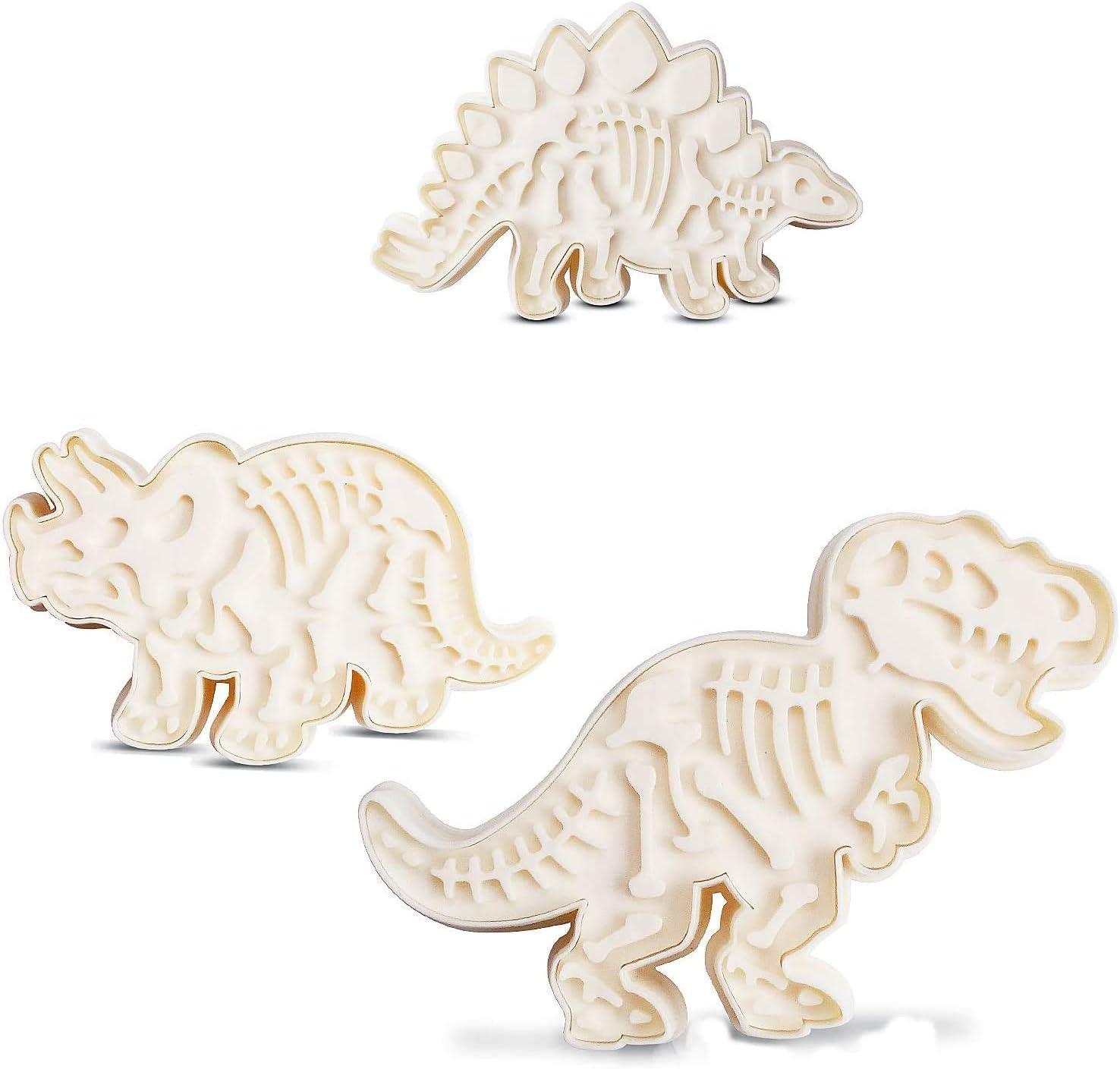 Jurassic Dinosaur Cookie Molds 3 Dinosaur Fossil Cookie Cutters Set Of 6Pcs PVC Stegosaurus Tyrannosaurus Rex Triceratops Molds