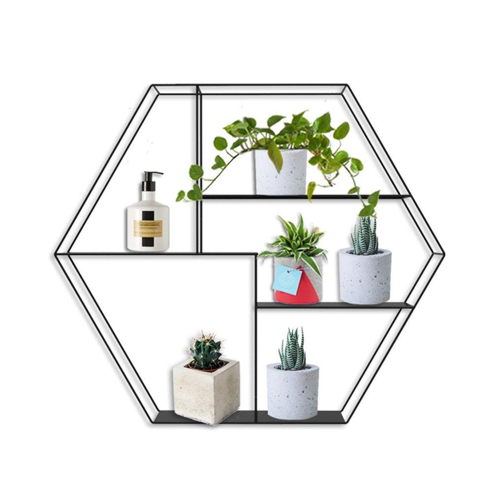 六角形のレトロ壁掛け金属棚/壁棚ディスプレイラックホームオフィス/屋根裏部屋壁掛けパーティション本棚ユニットフラワーフレーム/フローティングユニットフレーム装飾デザイン(4層) B07RV14PC3
