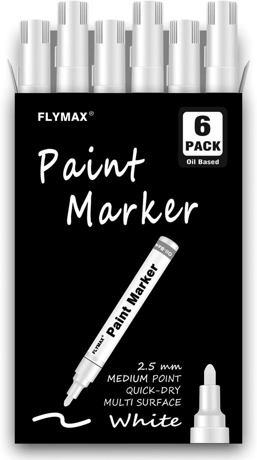 White Paint Pens, 6 Pack 2.5mm Medium Tip White Paint Marker Permanent for Wood Rock Plastic Leather Glass Stone Metal Canvas Ceramic Fabric Tire Paint Marker Oil Based