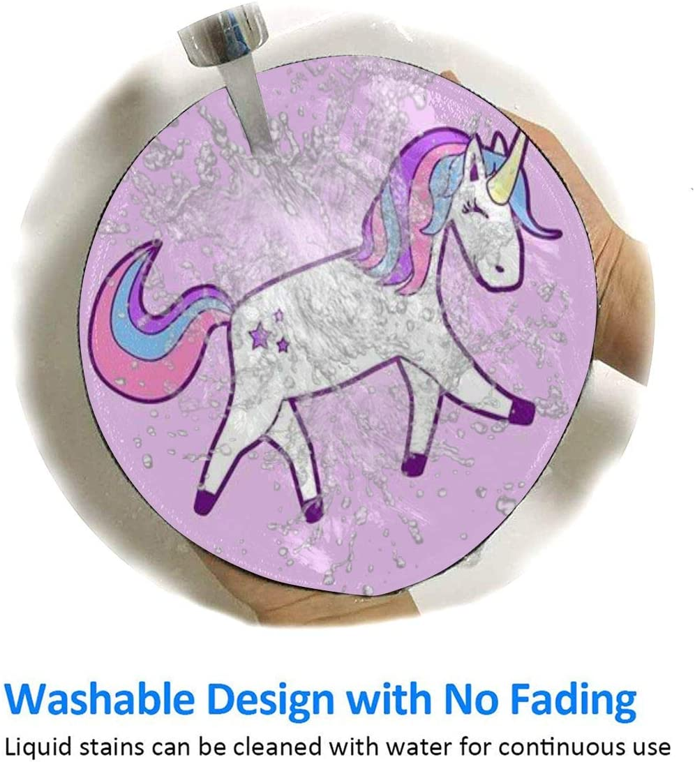 Non-Slip Waterproof Mouse Pad Game Mouse Pad Computer Notebook 7.9x7.9 Inches Round Mouse Pad Cute Purple Unicorn Pattern Art Design