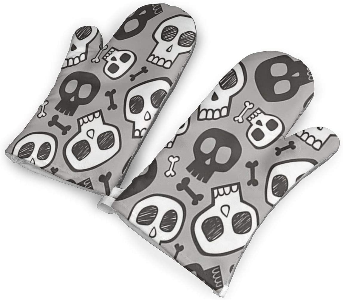 VshiXzno Skulls and Bones Halloween Oven Mitts,Professional Heat Resistant to 500?? F,Non-Slip Kitchen Oven Gloves for Cooking,Baking,Grilling,Barbecue Potholders