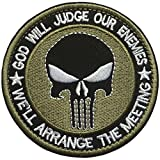 SpaceCar 3D Embroidered God Will Judge Our Enemies We'll Arrange The Meetings Punisher Military Tactical Morale Hook & Loop Patch 3.15' Diameter Sized - Army Green
