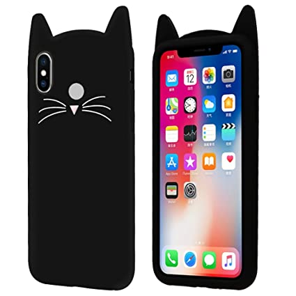buy popular 2531f 5b262 Aafiya Cute 3D Mustache Cat Kitty Soft Silicone Mobile Phone Back Cases for  Redmi 6 Pro (Black)
