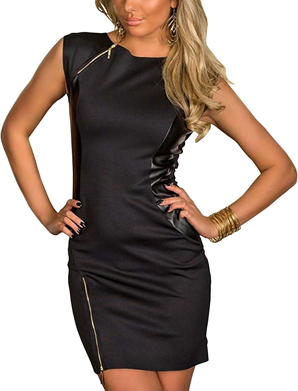 Boliyda Summer with Zipper Faux Leather Bodycon Dress for Womens