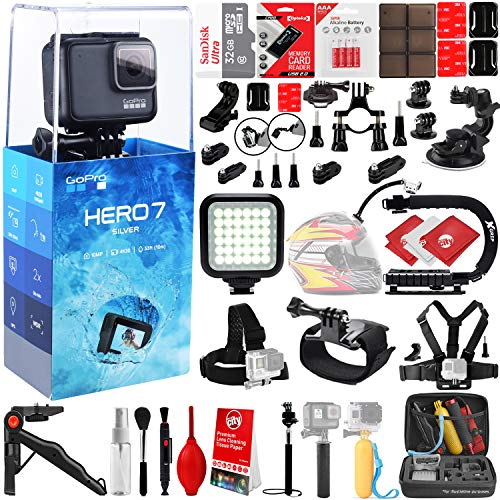 GoPro HERO7 Silver 4K 10MP Digital Camcorder w/ 32GB - 40PC Sports Action Bundle (32GB Micro SD Card, Suction Cup Window Mount, High Power LED Light, X-Grip Stabilizing Handle & More)