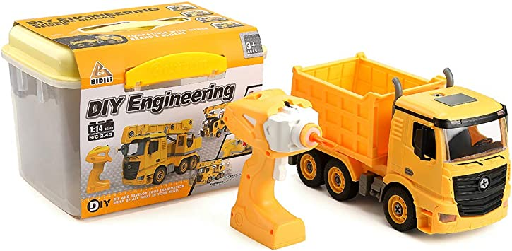 Amazon Com Weivog Diy Dump Truck Toy Stem Toys Rc 2 4g 3in1 Remote Control 1 14 Dump Truck Toys For 3 4 5 6 7 8 Year Old Boys Girl Gifts Toys Games