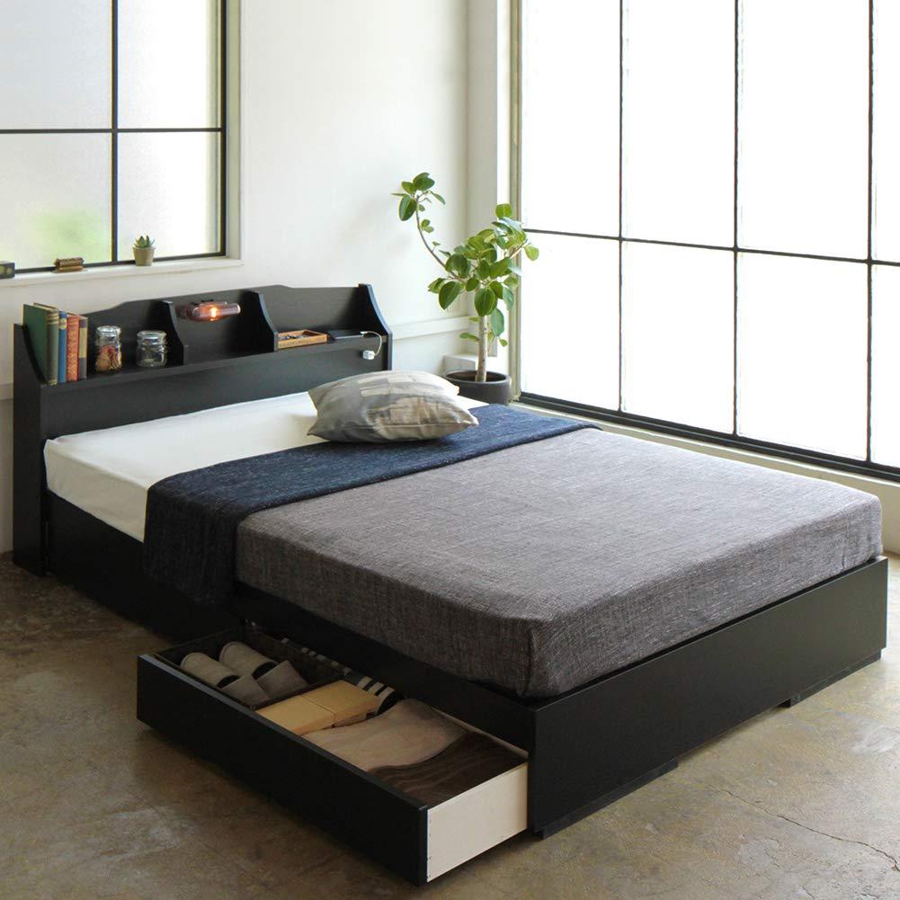 日本製 照明付き 宮付き ベッドフレーム 収納ベッド セミダブル (フレームのみ) ブラック 国産 『STELA ステラ』 B073QMGP5Y