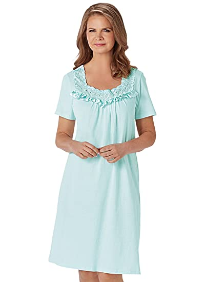54b8e6993 Image Unavailable. Image not available for. Color: Cotton Knit Nightgown ...