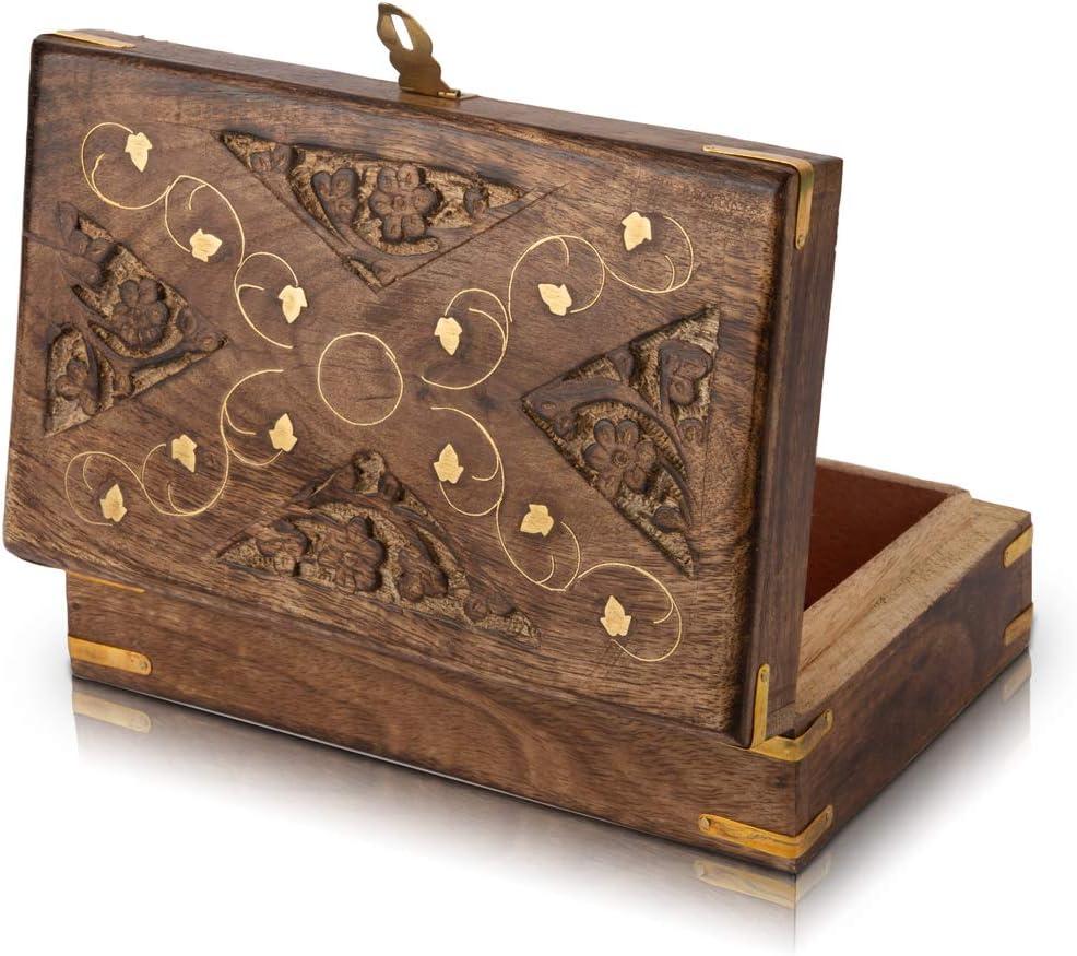 Excellente bo/îte /à bijoux d/écorative faite /à la main en bois avec serrure et porte-cl/és organisateur de bijoux pour souvenirs coffre au tr/ésor bo/îte /à bijoux avec cadenas 20,32 x 13 cm