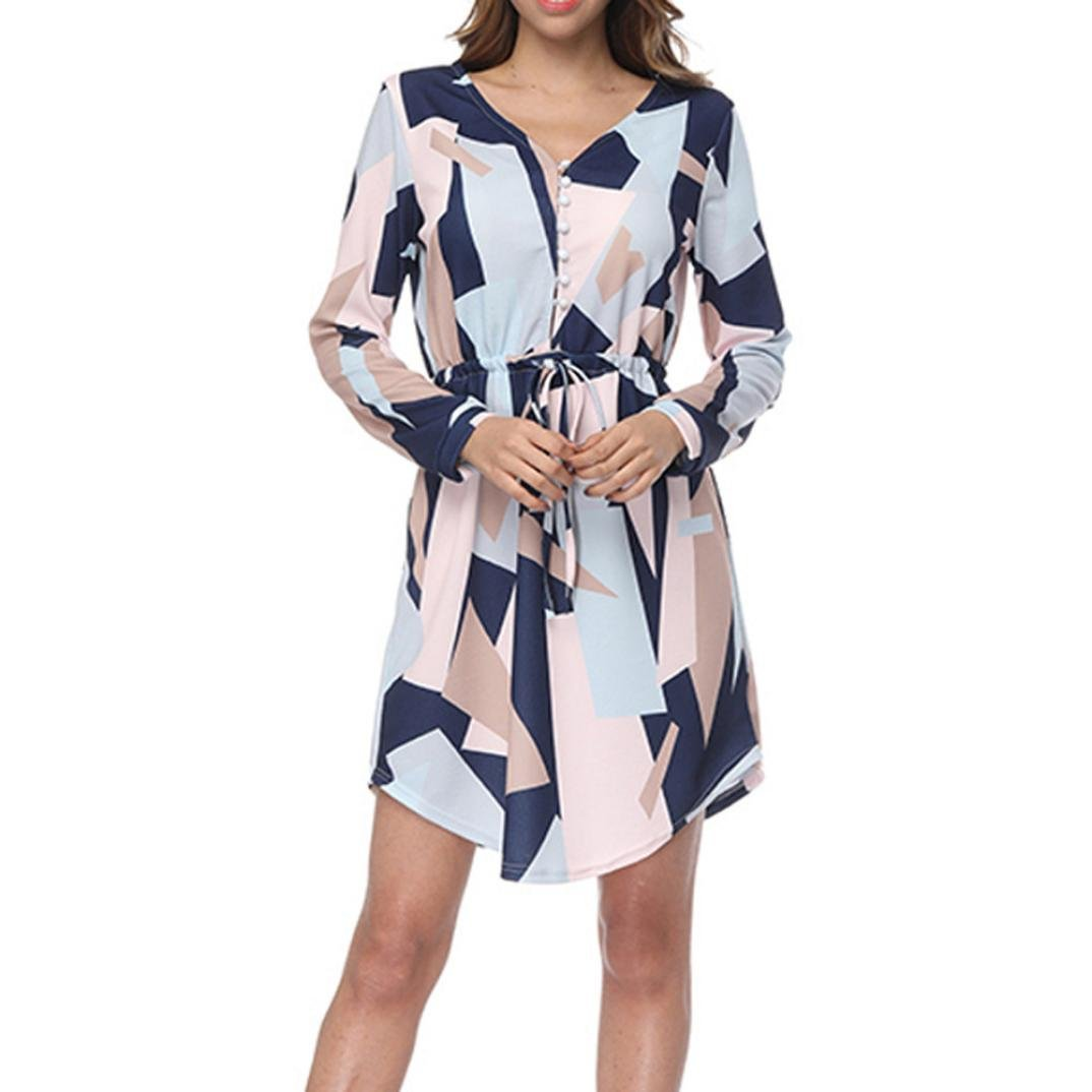 Funic Women's Spring Summer Casual Short Sleeve V Neck Printed Dress Long Maxi Dresses with Belt (M, Navy Blue)
