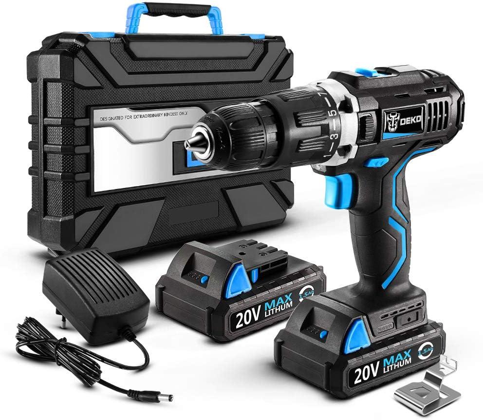 DEKO Taladro Atornillador 20V,2 velocidades,luz LED, Cargador,Incluye 14 Accesorios y Estuche