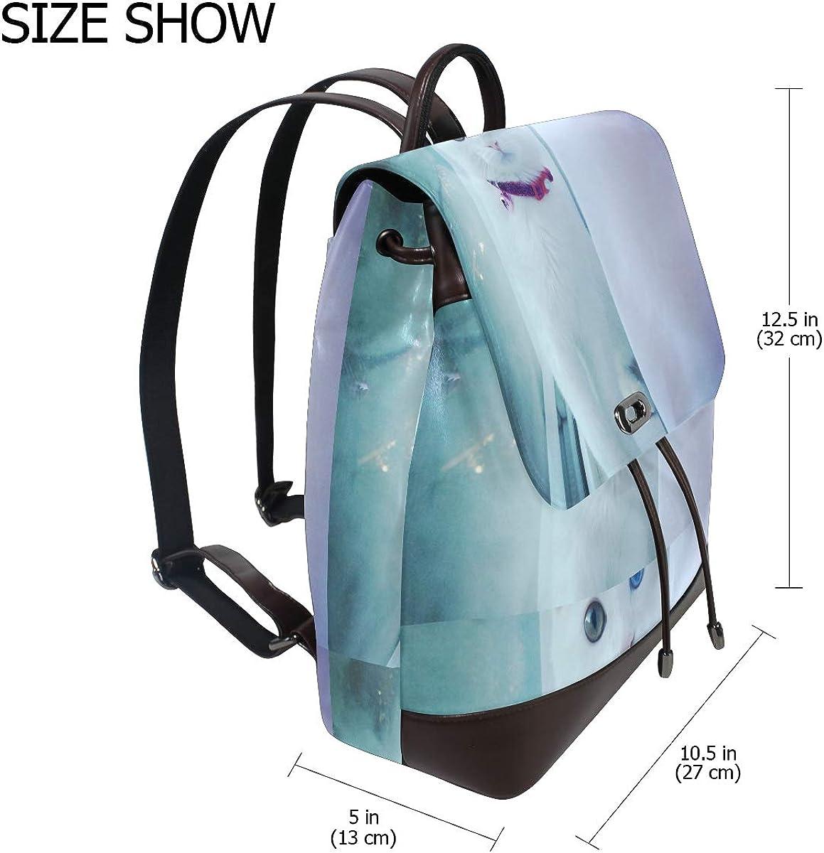 PU Leather Shoulder Bag,Strange Eyes Cat Backpack,Portable Travel School Rucksack,Satchel with Top Handle