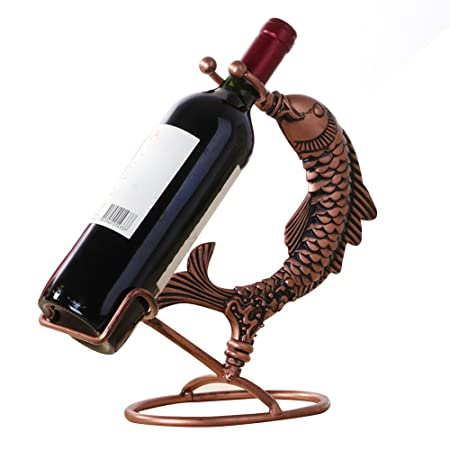 Nachen Wrought Iron Wine Rack Table Hand Forged Fish Wine Bottle