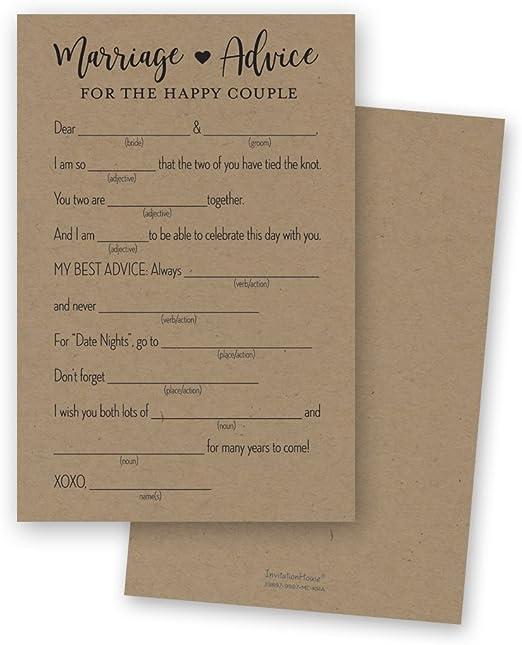 Wedding Advice Coasters Bride and Groom Advice Black Text on Brown Kraft Card 100