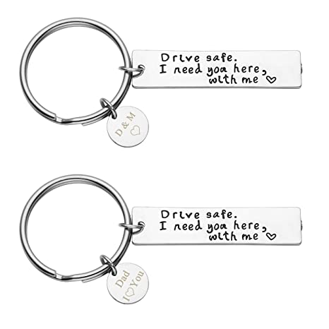JOVIVI Custom Keychain - Personalized 2pcs Drive Safe Keychain I Need You  Here with Me Key Chain Keyring w/Stainless Steel Dog Tag Charm for Trucker