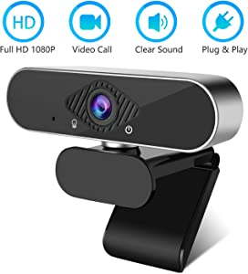 HD 1080p Webcam with Microphone, PC Desktop Laptop USB Webcam, Widescreen 1080p Full HD Computer Camera for Video Calling and Recording