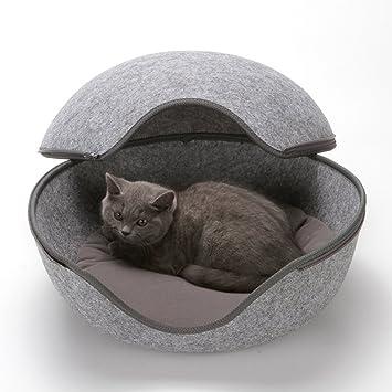 Felpa Paño Nido De Gato En Forma De Huevo, Cama De Gato Mascota Cómoda Cueva