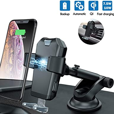 AD ADTRIP Wireless Car Charger Mount Qi Car Charger Auto Clamping Windshield Dashboard Air Vent Car Phone Holder Compatible with iPhone Xs Xs Max XR X 8 8 Plus, Samsung Galaxy S10 S10 S9 S9 S8