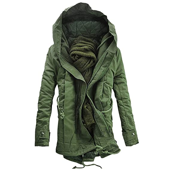 48fca2028e6f Hannea Hooded Double Zip up Padded Parka Coat  Amazon.in  Clothing ...