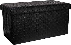 """B FSOBEIIALEO Folding Storage Ottoman, Faux Leather Footrest Stool Long Bench, Black 30""""x15""""x15"""""""