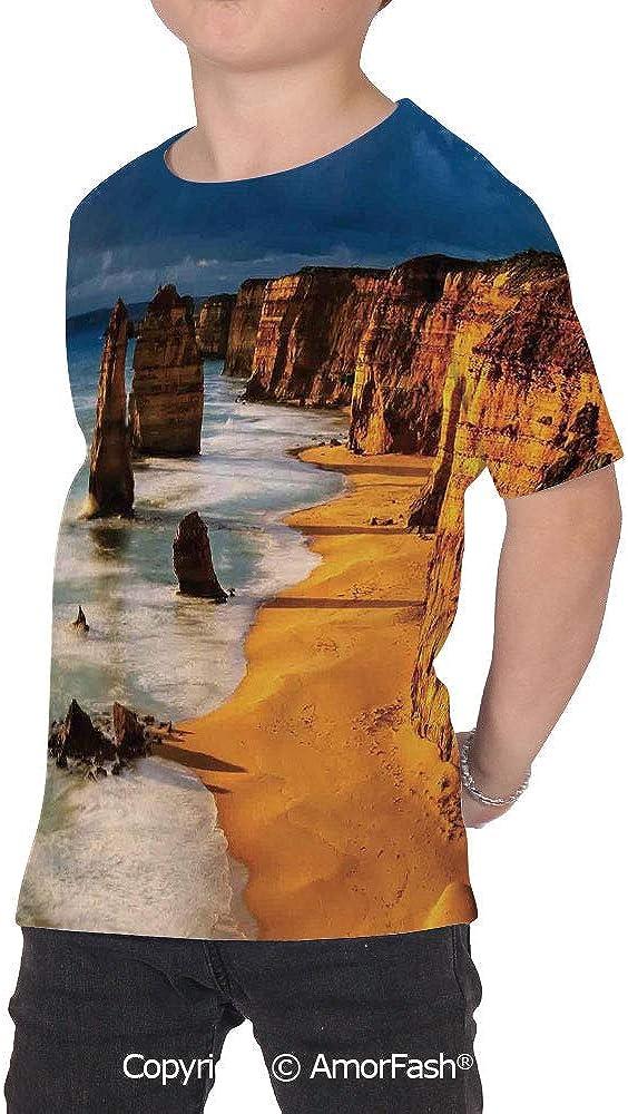Coastal Decor Colorful Boys and Girls Soft Short Sleeve T-Shirt,Twelve Apostles