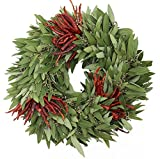 McFadden Farm Bay Leaf Wreath with Three Sets of Chilies