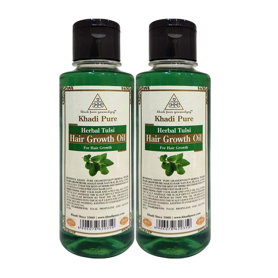 Khadi Pure Herbal Tulsi Hair Growth Oil, 45 ml (Pack of 45)