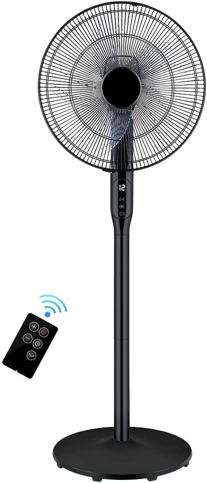 "// Floor standing pedestal oscillating tower fan 16/"" 3 speed white black remote"