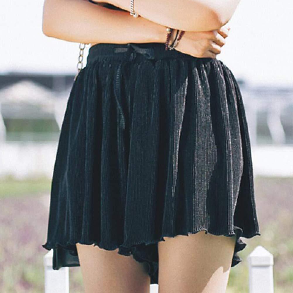 Noir LMSHMDK Short Femme Shorts Décontractés Femmes LÂche Taille Haute été Court Grande Taille en Mousseline De Soie Plissé Solide Court Boho Beach L