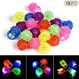 Hisight 18pcs Flashing LED Light Up Toys,Glow In The Dark Bumpy Rings, Colorful LED Light Up Bumpy Jelly Rubber Rings Finger Toys for Parties, Event Favors, Raves, Concert Shows, Gifts. Luminous toy.