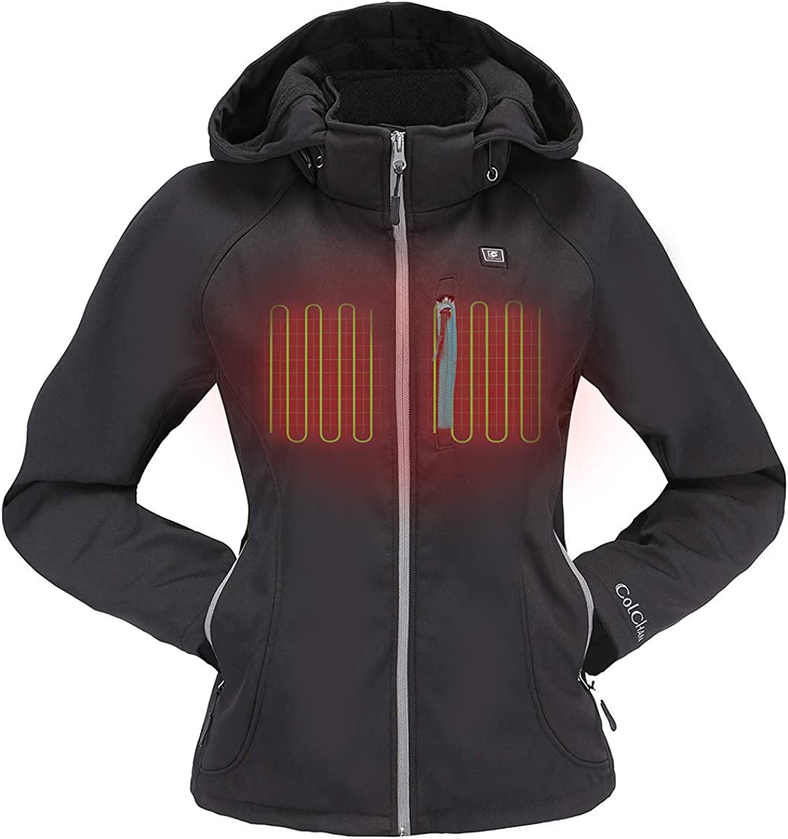 COLCHAM Heated Jacket for Women with Detachable Hood and Battery Pack Waterproof and Windproof: Clothing