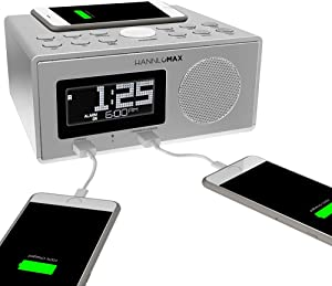 HANNLOMAX HX-202Qi Alarm Clock Radio, Wireless Qi Certified Charging, Bluetooth, 10W Output Power, Dual USB Ports for Charging and MP3 Playback, Temperature, Nightlight, Time Zone, Aux-in (Silver)