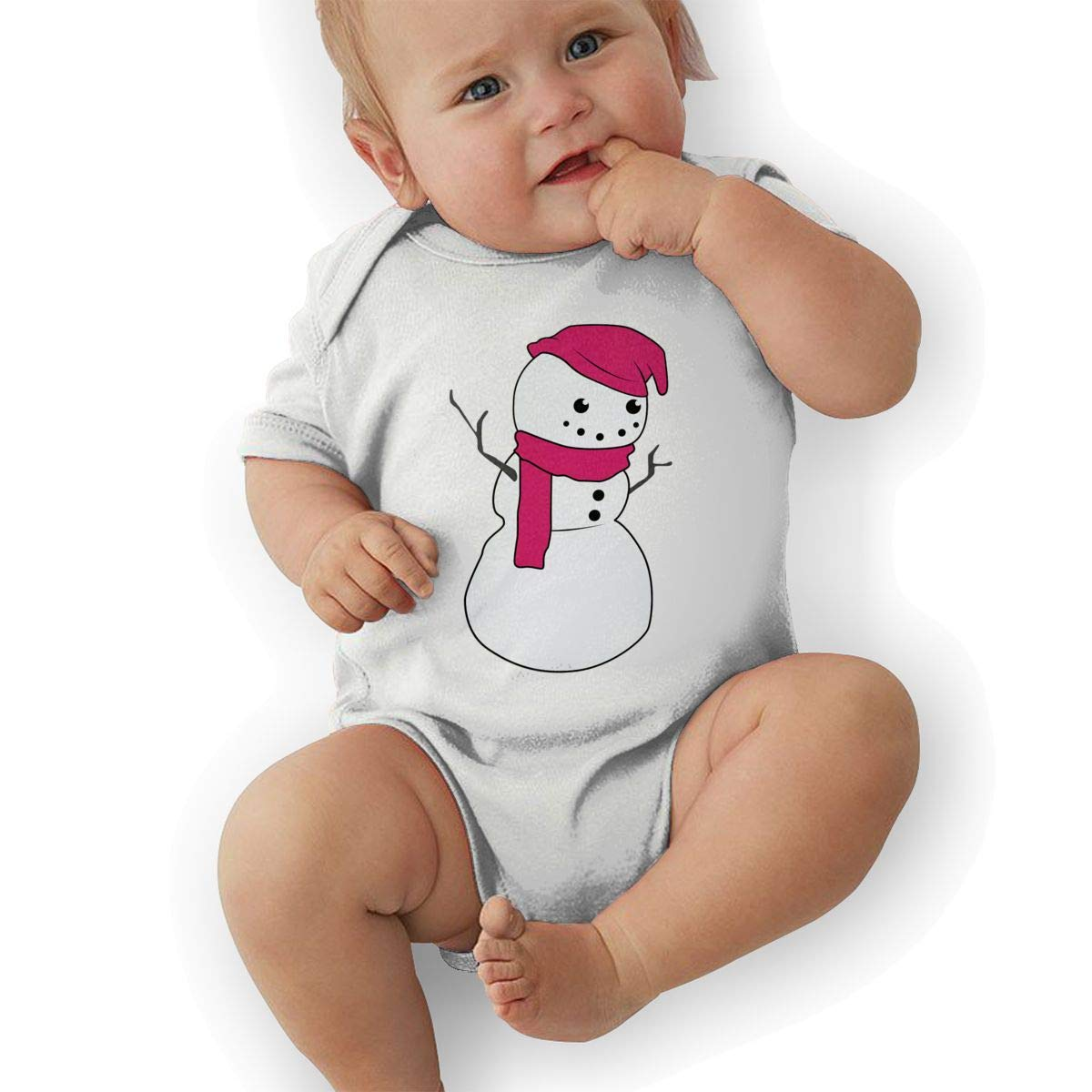 Newborn Baby Girls Bodysuit Short-Sleeve Onesie Snowman Happy Girl Print Outfit Autumn Pajamas