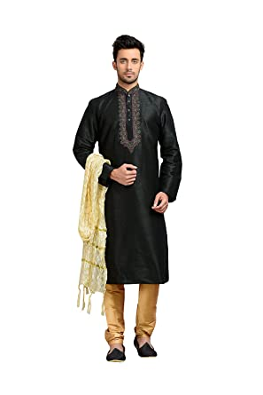 3e8350c3fd PCC Mens Kurta Pajama Wedding Dupion Art Silk Black India Party Wear Set