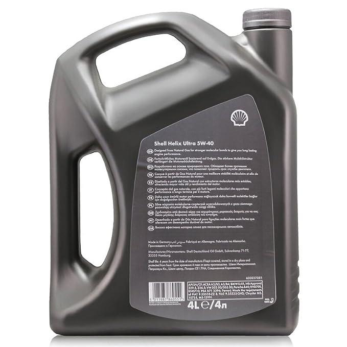SHELL Helix Ultra 5-W40 Aceite 100 % sintético Puro para Motores de Gasolina y diésel, Jerrycan de 4 litros: Amazon.es: Coche y moto