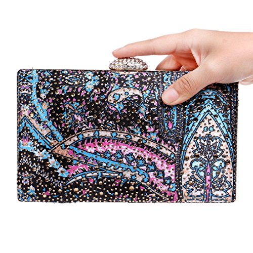 Lady bag Dinner Dress Bag evening Clutch Fly Pattern Party Evening Vintage 3 Multicolor WvqSIAS