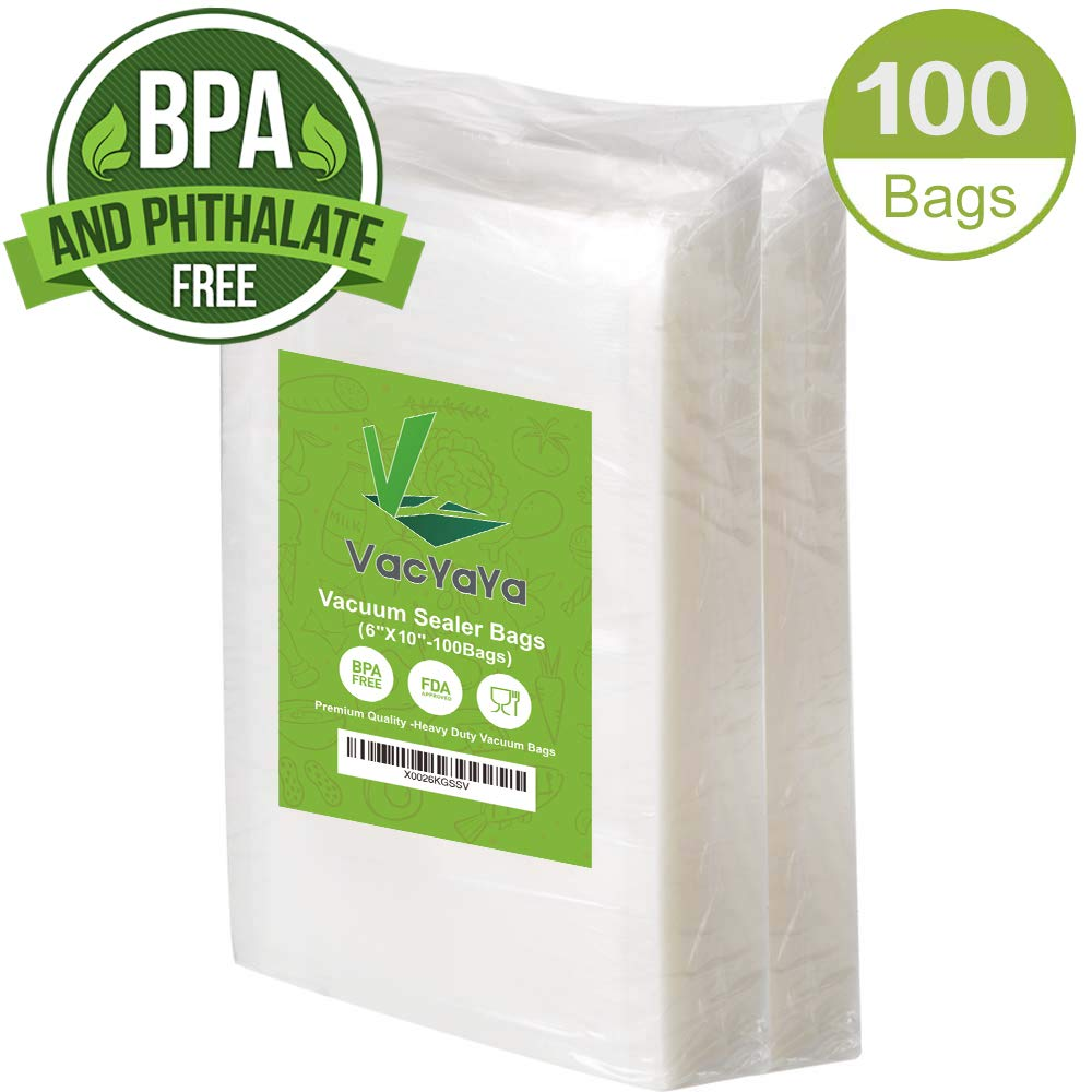 Premium!100 Pint 6 x 10 Inch Vacuum Sealer Storage Bags Size for Food Saver,Vac Seal a Meal Bags BPA Free, Heavy Duty Commercial Grade Freezer & Sous Vide Vaccume Safe PreCut Bag by VacYaYa