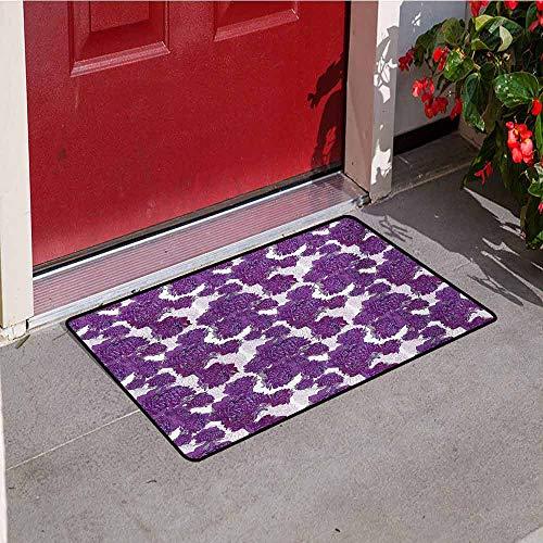 Jinguizi Mauve Inlet Outdoor Door mat Unusual Vivid Allium Flower Petals Design Abstract Hippie Victorian Peony Artwork Catch dust Snow and mud W29.5 x L39.4 Inch Purple White