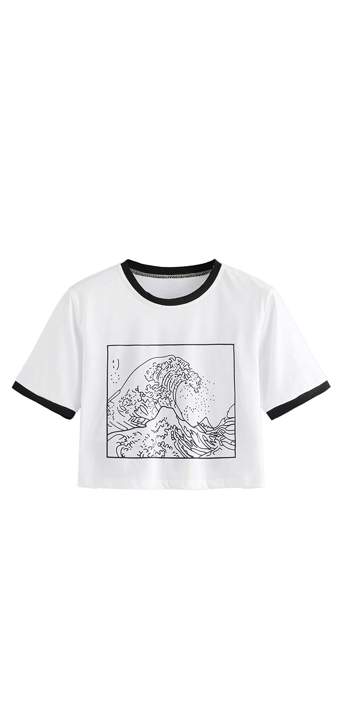 Women's Short Sleeve Top The Great Wave Off Kanagawa Print