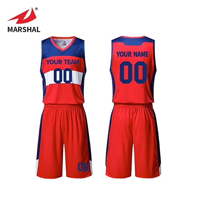 24b1ece8e1aef Amazon.com: Marshal Jersey red/Blue/White Youth Basketball Uniforms ...