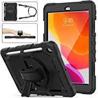 SEYMAC Stock iPad 8th/7th Generation Case, Three Layer Hybrid Drop Protection Case with [360 Rotating Stand] Hand Strap…