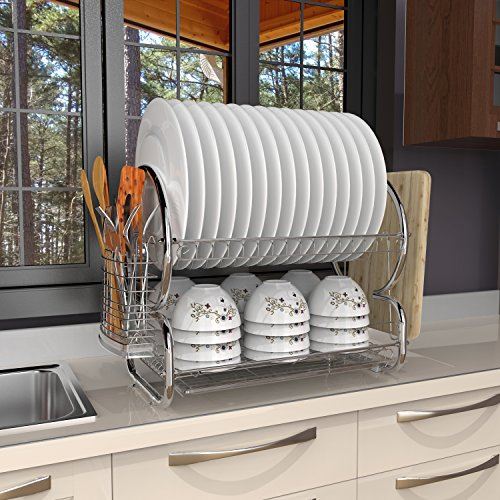 BATHWA 2-Tier Stainless Steel Dish Rack Drainer Board Set Dish Drying Rack 17L x 10W x 15H Inches (Plate Rack Set)