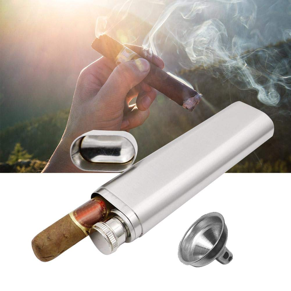 Cigar Holder Two Tubes Stainless Steel Corrosion Proof Hip Flask and Cigar Holder Humidor Tube Travel Carry Case