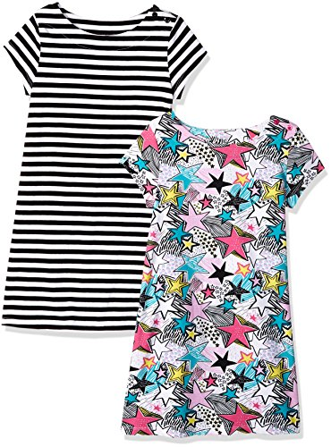 Spotted Zebra Little Girls' 2-Pack Knit Short-Sleeve A-Line T-Shirt Dresses, Multi-Star/Stripe, Small (6-7) (Girls Dress Zebra)