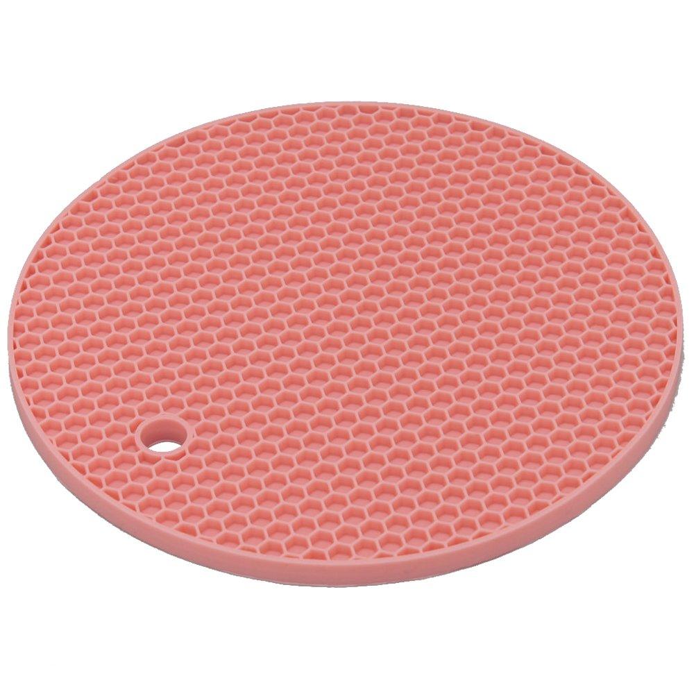 IRIS Silicone Rounded Pot Holder & Trivet Food Jar Opener Pot Mat SLN-18 (pink)