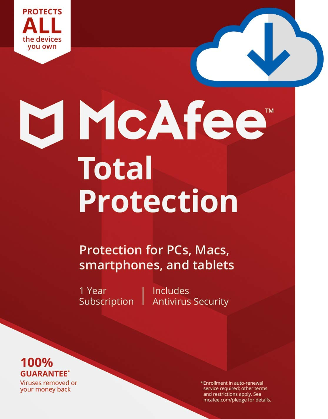 McAfee Total Protection|Antivirus| Internet Security| Unlimited Devices| 1 Year Subscription| PC/Mac Download|2019 Ready by McAfee