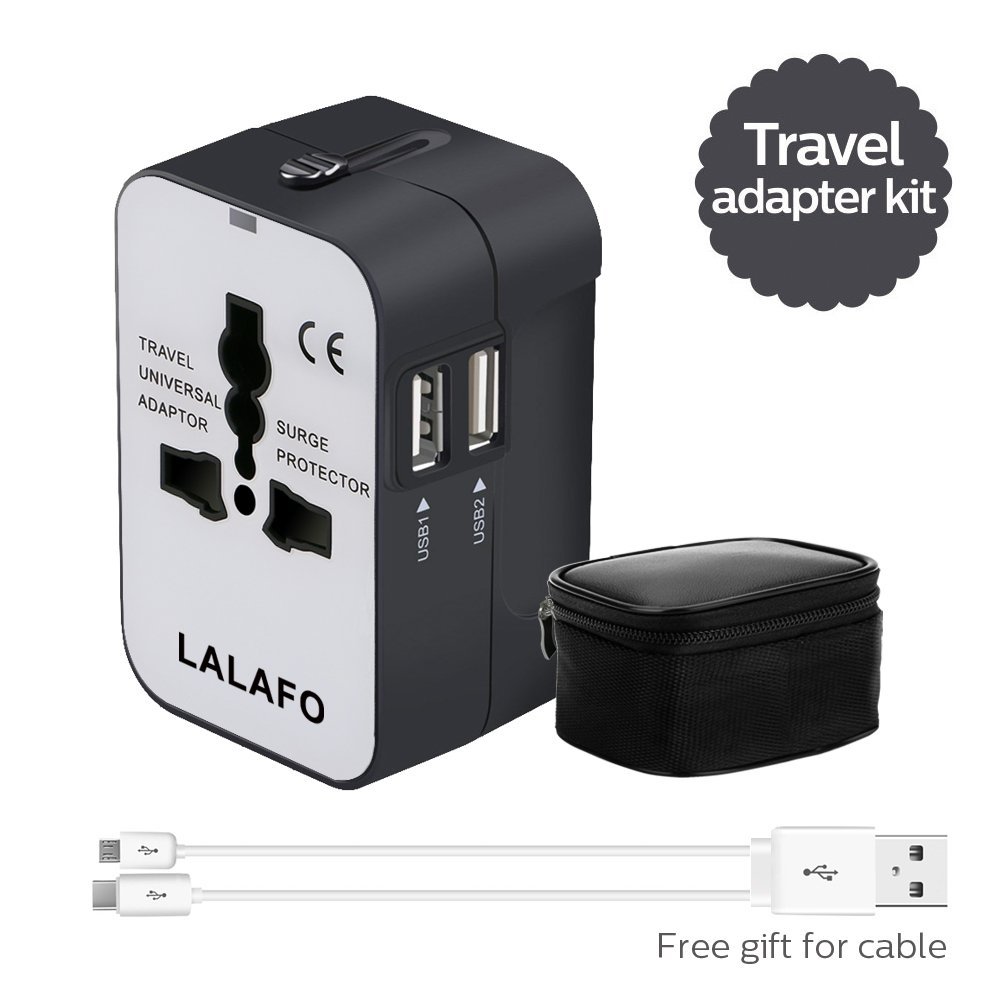 Travel Accessories Universal Travel Adapter Worldwide All In One International Wall Charger Power Plug Adapter with Dual USB Charging Ports European Adapter for US EU AU Cell Phone laptop(Black&White)