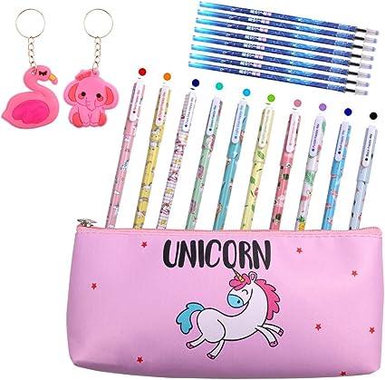 Yuccer 21 Pcs Unicornio Material Escolar Kawaii Estuche Unicornio 10 Bolígrafos de Unicornio para Niñas 8 Recarga Negra y 2 Llavero Regalo de Cumpleaños Escolar (Rosado): Amazon.es: Oficina y papelería